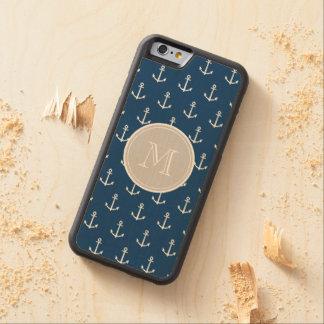Modelo blanco de las anclas de los azules marinos, funda de iPhone 6 bumper arce