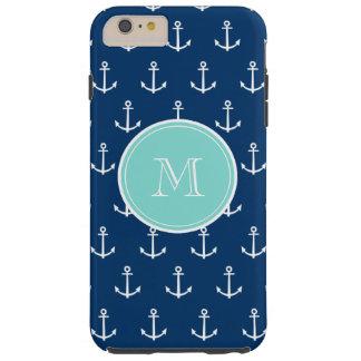 Modelo blanco de las anclas de los azules marinos, funda para iPhone 6 plus tough