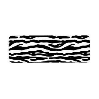Modelo blanco de las rayas del negro del estampado etiqueta de remitente