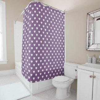 Modelo blanco de los corazones de la lila francesa cortina de baño