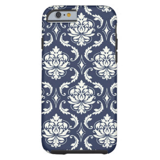 Modelo blanco del damasco de los azules marinos funda de iPhone 6 tough