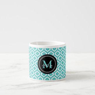 Modelo blanco del enrejado de la aguamarina taza de espresso