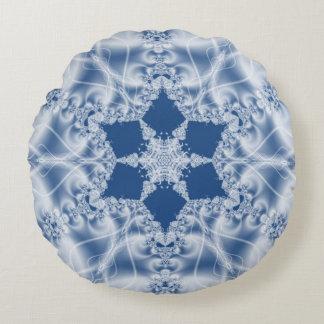 Modelo blanco del fractal de la mirada del satén cojín redondo