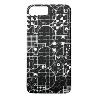 Modelo blanco geométrico del friki loco en negro funda iPhone 7 plus