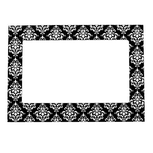 Modelo blanco negro 1 del damasco del vintage marcos magnéticos para fotos