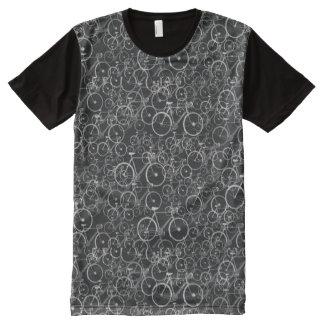 modelo blanco negro de gráfico-bicis camisetas con estampado integral