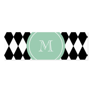 Modelo blanco negro del Harlequin, monograma de la Tarjetas De Visita Mini