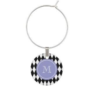 Modelo blanco negro del Harlequin, monograma viole Identificador De Copa