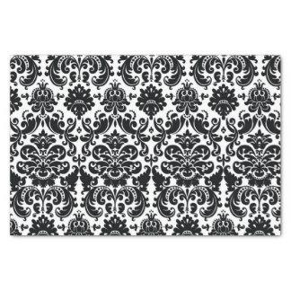 Modelo blanco negro elegante del damasco del papel de seda