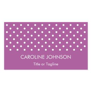 Modelo blanco púrpura elegante simple del punto tarjetas de visita