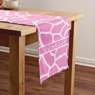 Modelo blanco rosado de la piel de la jirafa camino de mesa