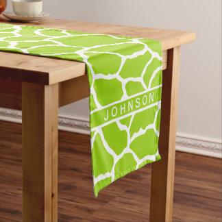 Modelo blanco verde de la piel de la jirafa camino de mesa