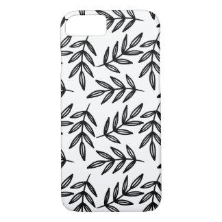 Modelo blanco y negro de las hojas funda iPhone 7
