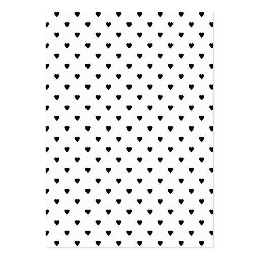 Modelo blanco y negro de los corazones tarjetas de visita grandes ...