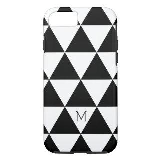 Modelo blanco y negro de moda de los triángulos funda iPhone 7