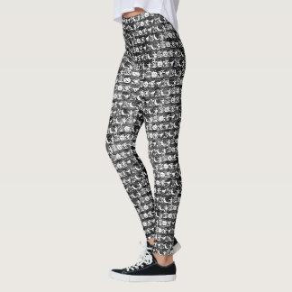 Modelo blanco y negro del arte de la fuente de la leggings