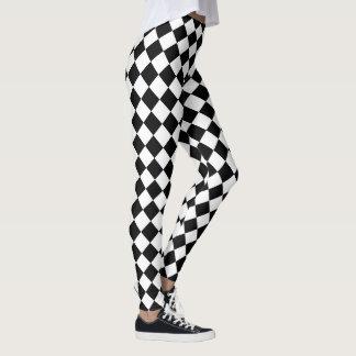 Modelo blanco y negro del diamante de la yoga leggings
