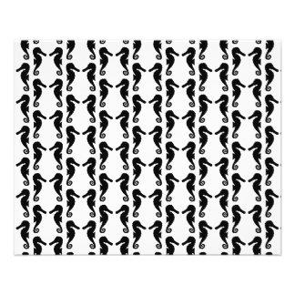 Modelo blanco y negro del Seahorse Folleto 11,4 X 14,2 Cm