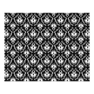Modelo blanco y negro elegante del damasco tarjetas informativas