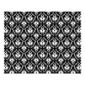 Modelo blanco y negro elegante del damasco folleto 11,4 x 14,2 cm