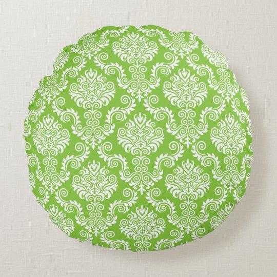 Modelo blanco y verde del damasco {escoja su cojín redondo