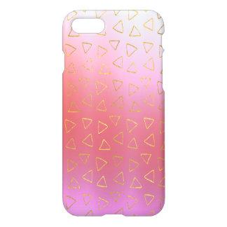 Modelo borroso rosas fuertes de los triángulos del funda para iPhone 7