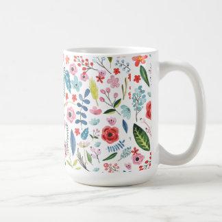 Modelo botánico colorido de las flores y de las taza de café