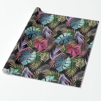Modelo botánico del follaje tropical colorido papel de regalo