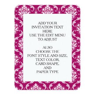 Modelo clásico blanco Rojo-Violeta del damasco Invitación 10,8 X 13,9 Cm