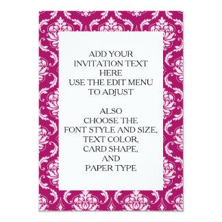 Modelo clásico blanco Rojo-Violeta del damasco Invitación 11,4 X 15,8 Cm