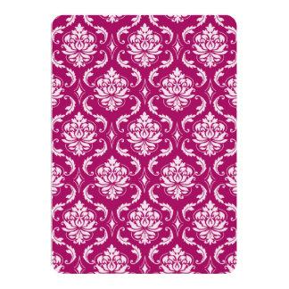 Modelo clásico blanco Rojo-Violeta del damasco Invitación 12,7 X 17,8 Cm