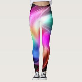 Modelo colorido abstracto del fractal leggings