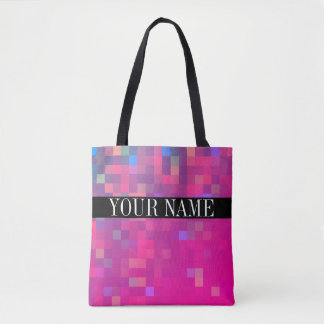 Modelo colorido brillante del cuadrado del pixel bolsa de tela