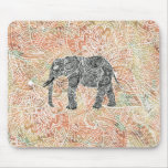 Modelo colorido de la alheña del elefante tribal alfombrilla de ratón