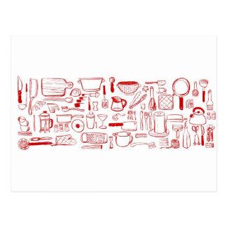 Modelo colorido de la cocina postal