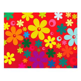 Modelo colorido de la paz del amor de las flores postal