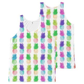 Modelo colorido de la piña de la pintura del arte camiseta de tirantes con estampado integral