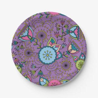 Modelo colorido de las amapolas y de los dientes plato de papel