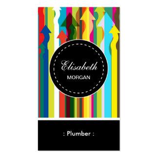 Modelo colorido de las rayas del fontanero tarjetas de visita