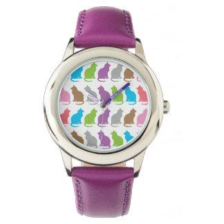 Modelo colorido del gato reloj de pulsera