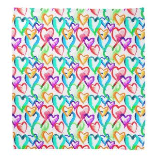Modelo colorido lindo de los corazones bandana