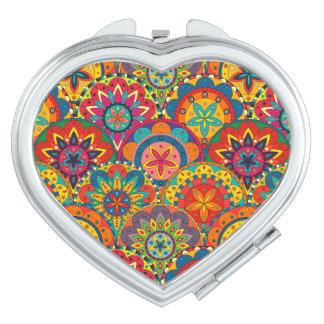 Modelo colorido retro enrrollado de la mandala espejo para el bolso