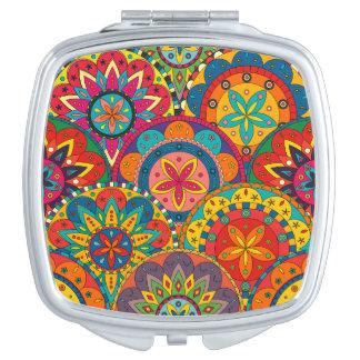 Modelo colorido retro enrrollado de la mandala espejos de viaje