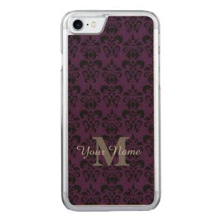Modelo con monograma púrpura del damasco funda para iPhone 7 de carved