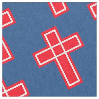Modelo cruzado cristiano blanco y azul rojo tela