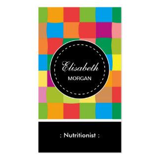 Modelo cuadrado colorido del nutricionista el tarjetas de visita