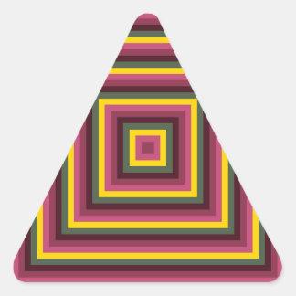Modelo cuadrado concéntrico abstracto colorido pegatina triangular