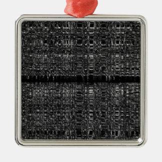 Modelo de cadena abstracto adorno navideño cuadrado de metal