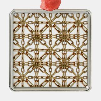 Modelo de cadena adorno navideño cuadrado de metal