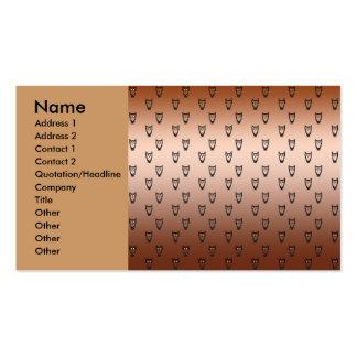 Modelo de cobre del búho tarjetas de visita